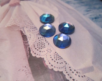 Vintage 11mm Sapphire AB Faceted Glass Gem Cabs 4Pcs.