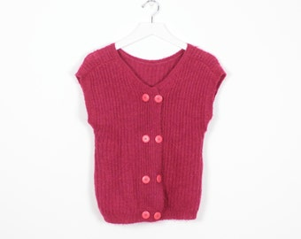Vintage 80s Sleeveless Sweater Button Back New Wave Raspberry Pink Sweater Vest 1980s New Wave Fuzzy Jumper Mod Pullover Knit Top S M Medium