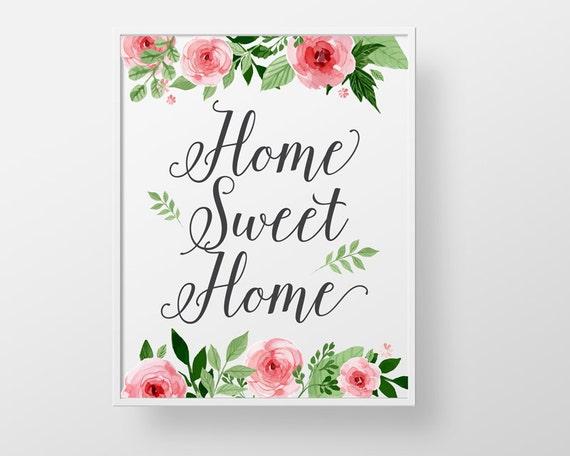 home sweet home print wall decor art roses modern floral. Black Bedroom Furniture Sets. Home Design Ideas