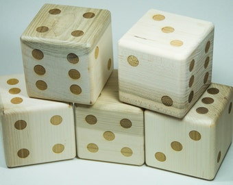 Lawn Dice Backyard Game with 5 laser engraved wooden dice