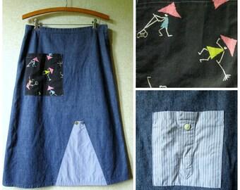 Boho Jean Skirt upcycled repurposed lagenlook artsy altered clothing denim skirt gardening print vintage fabrics anthro style women small