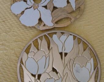 Wm.A.  Rogers Gold Metal Trivets (2)