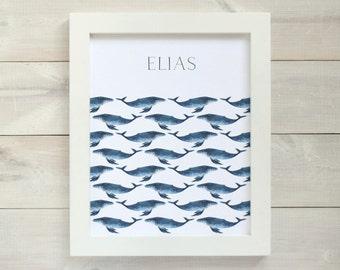 Whale Print, Personalized Art Print, Custom Name Art, Whale Nursery, Nautical Nursery Print, Kids Art, Nursery Wall Art, Art for Boys Room