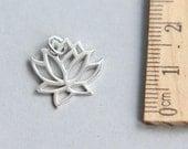 Lotus Charm, Silver Lotus Charm, 925 Sterling Silver Charm, Sterling Silver Yoga Charm, Lotus Flower Charm, 16mm ( 1 piece )