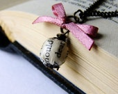 Book page bead and pink ribbon bow necklace, antique gold chain