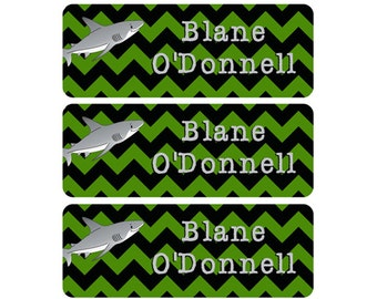 Name Labels, School Name Labels, Daycare Labels, Baby Bottle Labels, Waterproof Labels, Name Labels, Chevron, Shark, Lime Green, Black