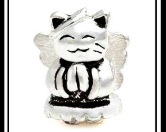 PURRfect - SiLVER CAT with ANGeL Wings & Halo - CaT LOVeR - Excellent Quality Charm Bead - fits European Bracelets - MS-1006