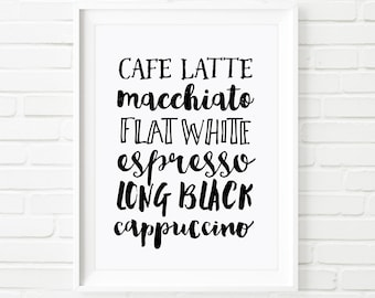 Coffee printable art, Home decor print, Typography print, coffee art, coffee lovers, black and white print, Cafe Latte, Cappucino