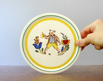 Mid Century Arabia Finland Folk Art Toasting Man Plate / Trivet / Plaque