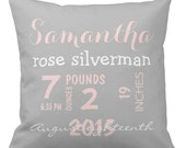 "Custom Throw Pillow - Baby Name and Birth Stats - Pink and Gray Personalized Baby Pillow- 16"" X 16"""