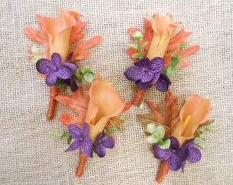 Set of (4) Wedding Boutonnieres. REAL TOUCH CALLA Lily Orange Purple Green Brown Groom Best Man Father of the Bride Usher Rustic Country