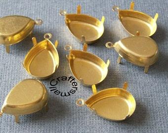 18x13mm Pear/drop raw brass prong settings, 12 pcs