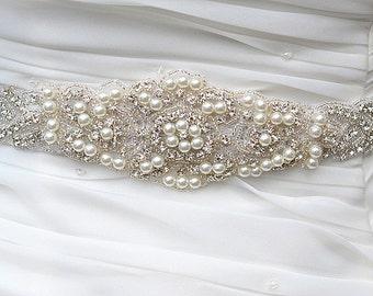SALE ALEX  Wedding bridal crystal pearl sash , belt