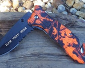 Orange Camo Spring Assisted Open Knife, Laser Engraved, Personalized Wedding Grooms Men, Birthday, Anniversary Gift.