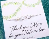 Set of Two infinity NECKLACES for Mom, mother of the groom gift, infinite love card, Mother of the Bride gift, mother in law gift, otis b