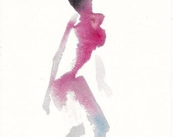 "Femme 155 original figure gesture watercolor and pastel 8"" x 10"" Unframed"