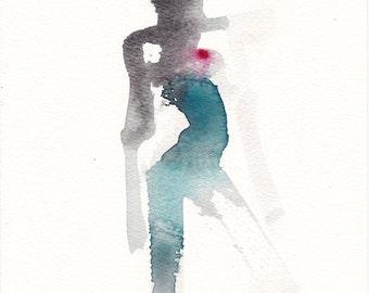 "Femme 157 original figure gesture watercolor and pastel 7.5"" x 10.5"" Unframed"