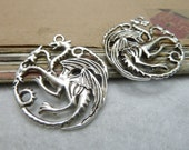 10pcs 33x36mm The Dragon Silver White Retro Pendant Charm For necklace Jewelry /Pendants C7957