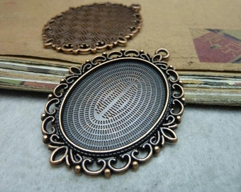 5 pcs 30x40mm Antique Bronze  Cameo Cabochon Base Setting Tray Blanks Pendants Charm Pendant C8035