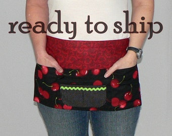 Sweet Cherry Lotsa Pockets Apron, Vendor Apron with zipper pocket, farmers markets/ teachers/ waitress/ new mom/ photographer, ready-to-ship