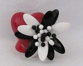 Vintage Retro Black and White 3D Faceted Brooch with Bead Cluster Center LARGE Statement Piece