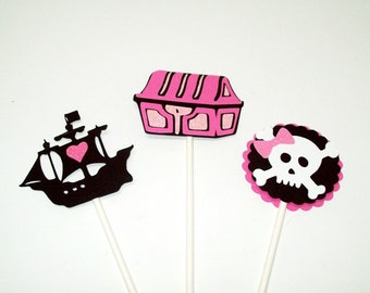 Pirate Cupcake Toppers/Skull Crossbones/Ship/Treasuere Chest/ Happy Birthday/Girl Party
