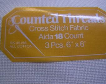 """18 Count Ivory 3 pcs. 6"""" x 6"""" Aida Cloth Cross Stitch Fabric NIP"""
