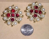 Vintage Signed Kramer Earrings With Faux Pearl Red Rhinestones Clip On 1960's Jewelry 2307
