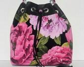 Bucket Bag/  Leather Drawstring Top/ Floral Cotton Fabric/  Adjustable Shoulder Strap
