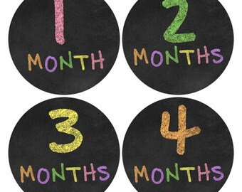 Rainbow Chalkboard Monthly Baby Sticker, Infant Growth Stickers, Infant Stickers, Chalkboard Monthly Sticker New Baby Sticker (457P)
