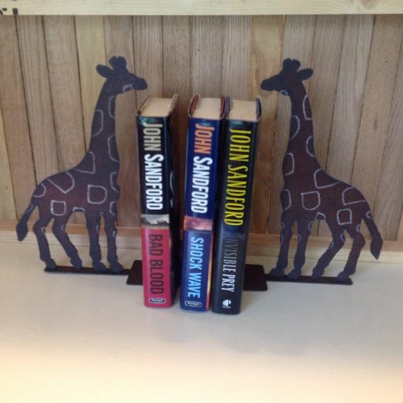 Pair of Giraffe Bookends, Metal Giraffes, Pair of Metal Art Giraffe Book ends
