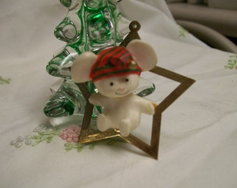 Hallmark Christmas Ornament Swinging on a Star 1980 Mouse in Brass Star