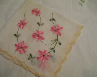 Pink Embroidered Handkerchief Vintage Flowered Hankie