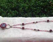 Alabama ID Badge Beaded Lanyard Crimson and White Roll Tide ID Badge Holder