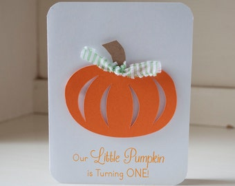 Pumpkin Baby Shower Invitations Orange and Green Gingham Thank You Notes Fall Themed