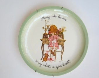 "Vintage Holly Hobbie Collector's  Plate with Plate Hanger - 1970s - ""Always take time to say what's in your heart"""