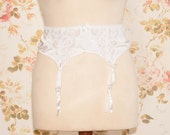 Vintage White Satin Lace Garter Belt, Suspender Belt. Circumference: 34 - 38""
