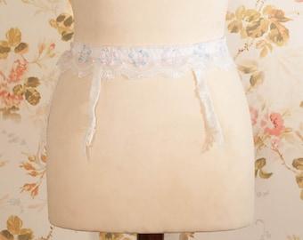 """Vintage 1970s White Floral Band Garter Belt, Suspender Belt. Waist Circumference: 32 - 36"""""""