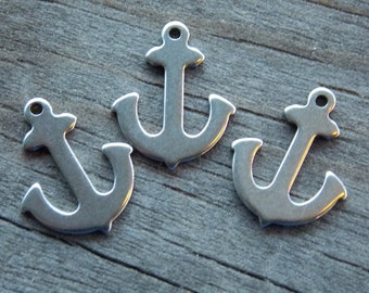 4 Stainless Steel Anchor Charms 16mm