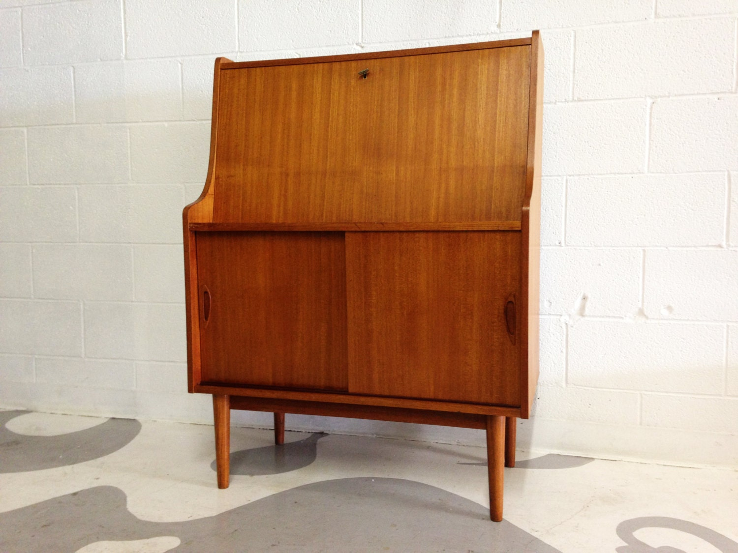 mid century modern secretary desk in teak made in denmark