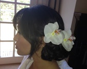 Two White Orchid Hair Clips For Bride