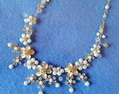 Vintage Bridal Pearl and Crystal Flower Cluster Necklace - silver, ivory