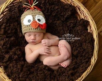 Crochet Newborn Turkey Beanie - turkey, newborn, photoprop, brown
