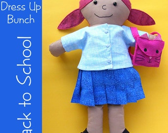 Rag Doll Back to School Set - skirt, shirt, shoes and backpack pattern