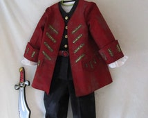 Child's Pirate Steampunk Costume: Fully Lined Coat & Vest, Shirt, Pants, and Belt - All Cotton Fabric - Size 2 To 7, Made To Order Only