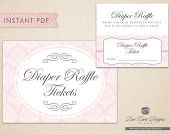 INSTANT PDF, Diaper Raffle Tickets and Sign in Peony Damask , Printable, Download Now