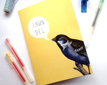 SALE - SEL - A5 Notebook Iawn Del! Welsh Hello Yellow Bird Eco Friendly