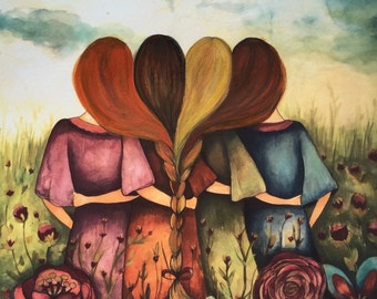 Four sisters red, brown, blonde and auburn hair  art print