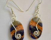 Sodalite stone earrings in sterling silver.  Orange and navy