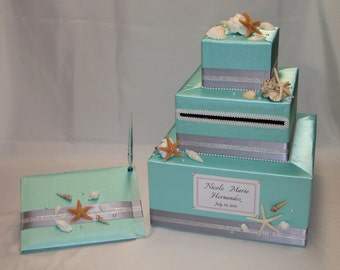 BEACH theme Wedding Card Box and Matching Guest Book and Pen -Sea Shells-Starfish accents